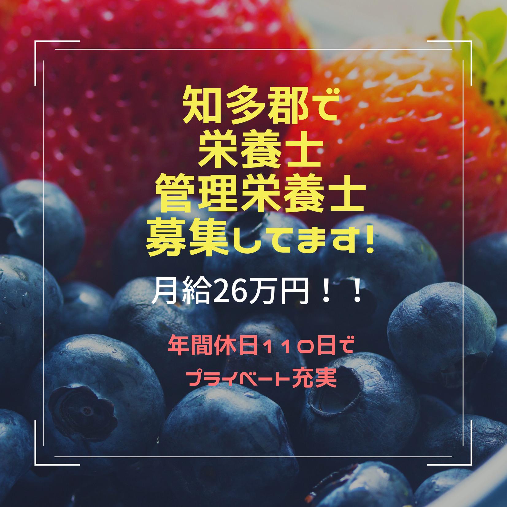 愛知県知多郡で「栄養士・管理栄養士」のお仕事!交通費支給あります☆彡 イメージ